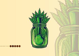 Bong Weed leaf Bottle Illustrations