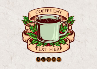 Coffee Day Glass with Banner Vintage Isolated