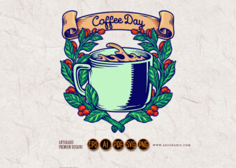 Coffee Day Plant Leaves Classic Badge