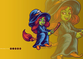 Halloween character teenager witch with flying Broom