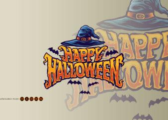 Happy halloween witch hat typography