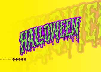 Halloween Typeface Trippy Color Illustrations