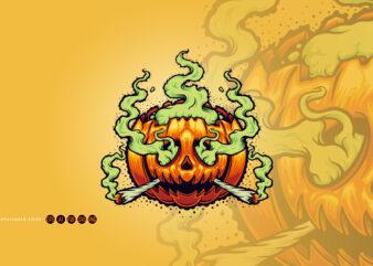 Halloween Weed Smoke Cartoon Illustrations
