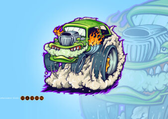 Hot Road Car Monster Vape Illustrations