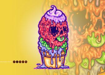 ICe Cream Melt Mascot Illustrations