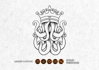 King Octopus Silhouette Logo SVG