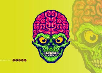Our Brains Skull Mascot Logo Illustrations