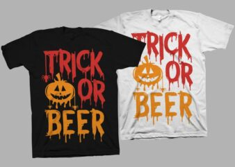 Trick or beer vector illustration, funny saying for halloween t shirt design, Funny saying for Halloween svg, Halloween svg, Boo svg, Halloween png, Halloween t shirt design for sale