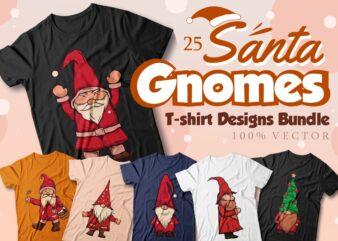 Santa gnomes t-shirt designs bundle, Christmas Santa gnomes vector illustrations bundle, Funny, Santa gnomes cartoon, Gnome Bundle