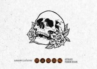 Side Skull Rose Silhouette Tattoo