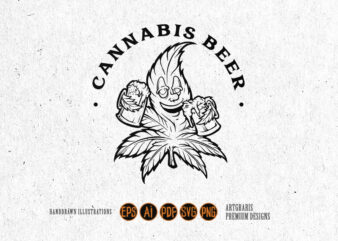 Cannabis Leaf Joint Beer Silhouette