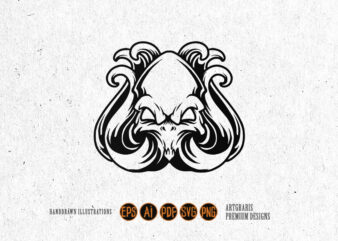 Head Octopus Silhouette SVG Clipart