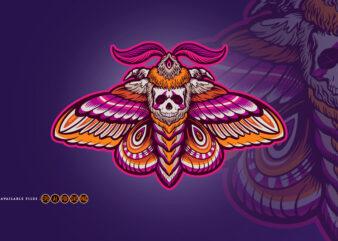 Skull Moth Dead Head Illustrations