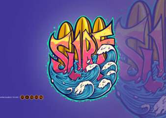 Surf Wave Typography Summer Logo