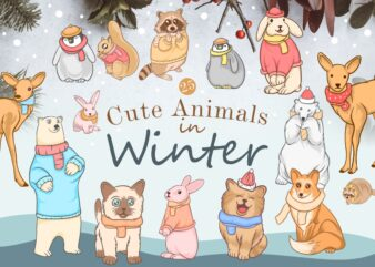 Cute animals in winter bundle, Winter animal cartoon illustration bundle, Fun winter animal, Animal wearing a scarf, animals wear clothes,