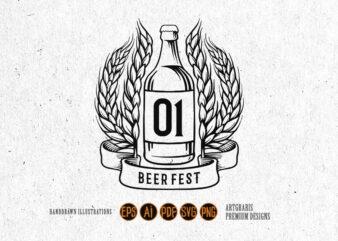 Winner with Bottle Beer Fest Silhouette