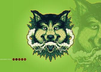 Wolf Weed Smoking Cannabis Clouds