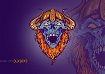Zombie Angry Skull Horned Helmet Mascot