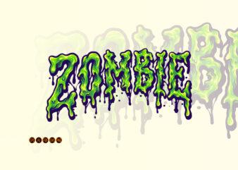 Zombie Horror Typeface Melt Illustrations