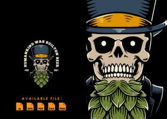 Manly skull hops T-shirt Design