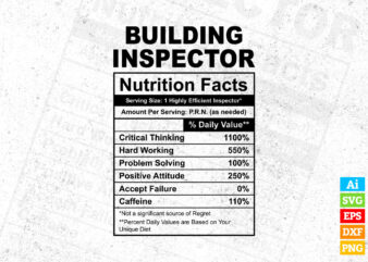 Building Inspector funny nutrition facts editable vector t-shirt design in ai svg png printable files, Building Inspector nutritional svg files for cricut