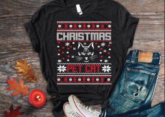 christmas pet cat t shirt vector illustration