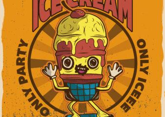 Ice cream party, t-shirt design