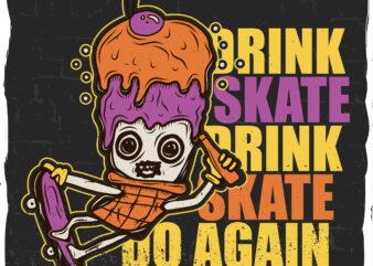 Ice cream skater, t-shirt design