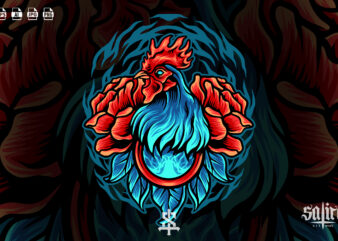 Rooster With Rose