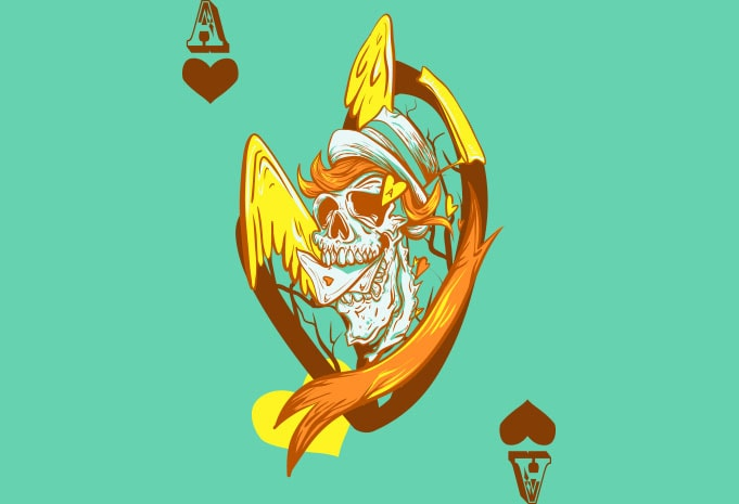 Ace of hearts tshirt design for merch by amazon