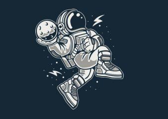 Astronaut Slamdunk tshirt design vector