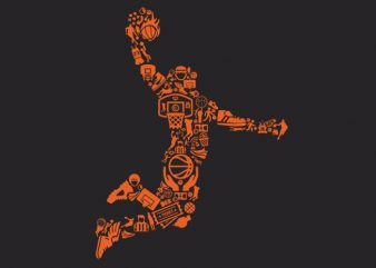 Basketball Player vector t shirt design for download