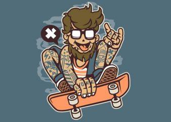 Bearded Skater vector t shirt design for download