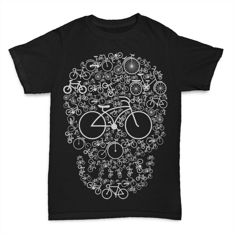 Bicycle Skull t shirt designs for printful