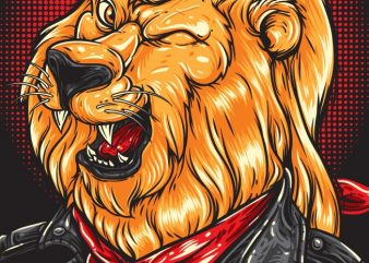 Cool Lion – Biker t shirt vector file