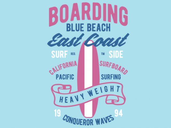 Boarding Blue Beach tshirt design