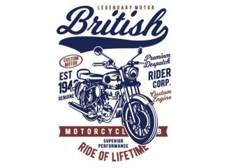 British Motorcycle commercial use t-shirt design