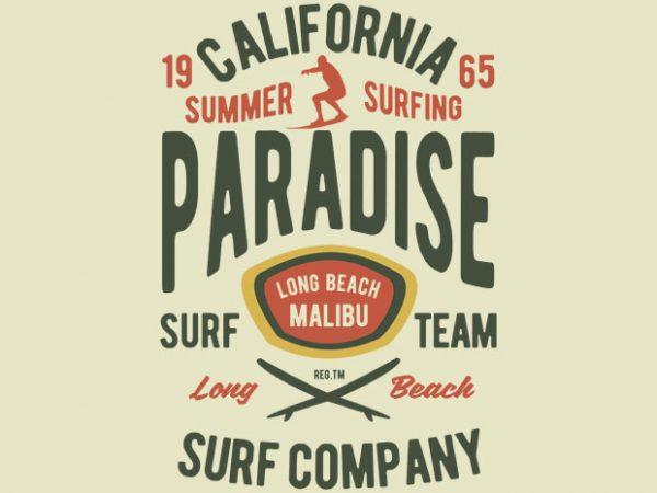 California Summer Surfing Paradise Tshirt design