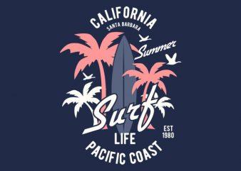 California Surf Tshirt Design