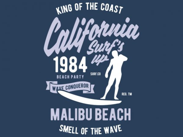 California Surfs Up Tshirt Design