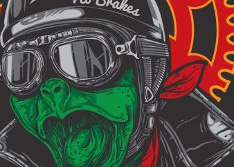 Captain Fast – Turtle Biker t shirt vector file