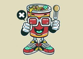 Cup Noodle vector t-shirt design template