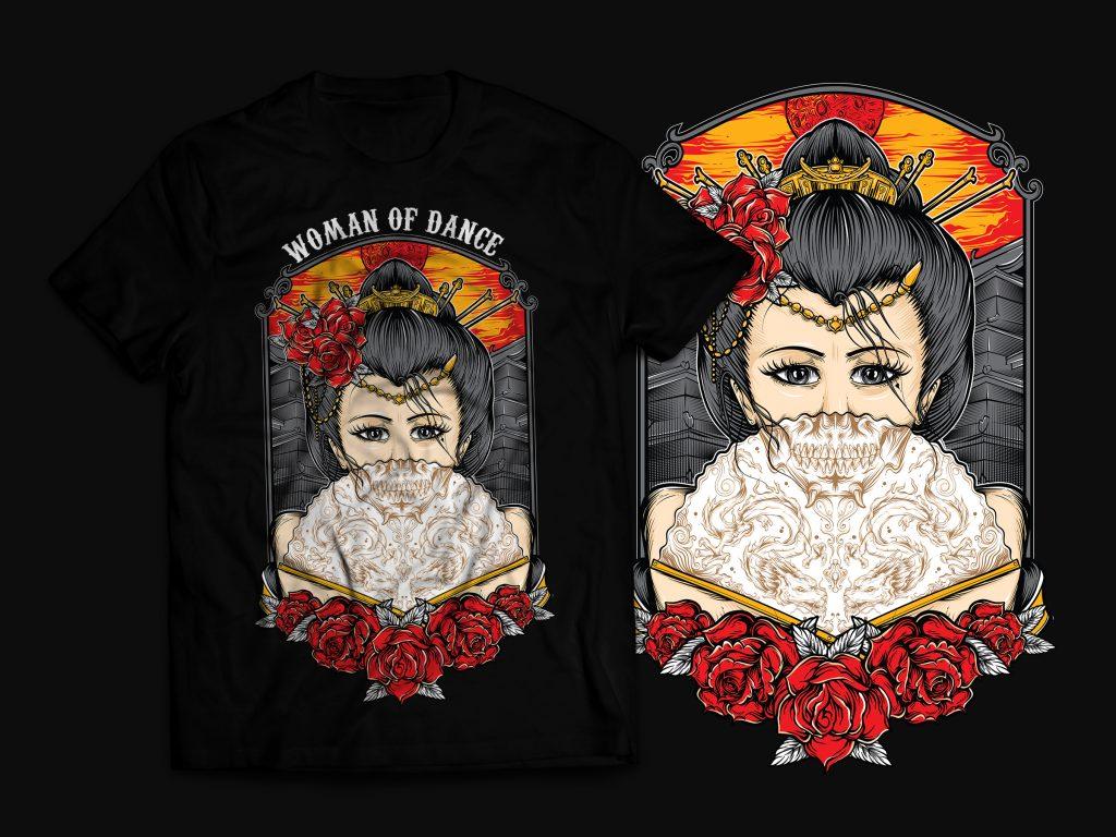 Geisha T-Shirt Design tshirt design for merch by amazon