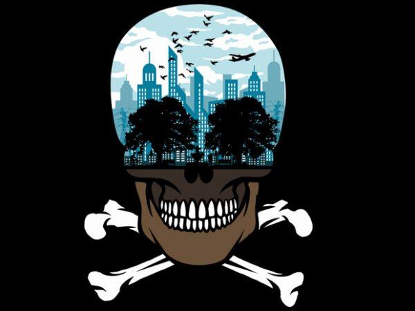 Death City t shirt vector illustration