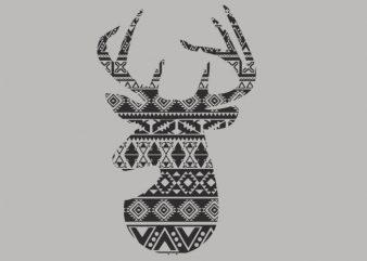 Deer 1 tshirt design vector