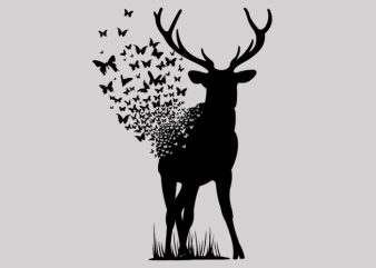 Deer Butterfly t shirt vector illustration