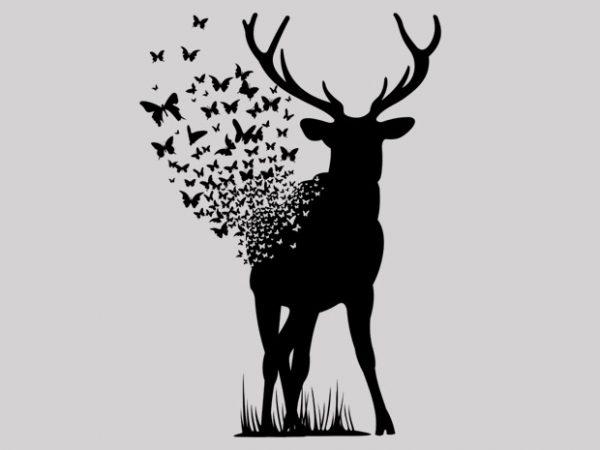 Deer Butterfly t shirt vector illustration