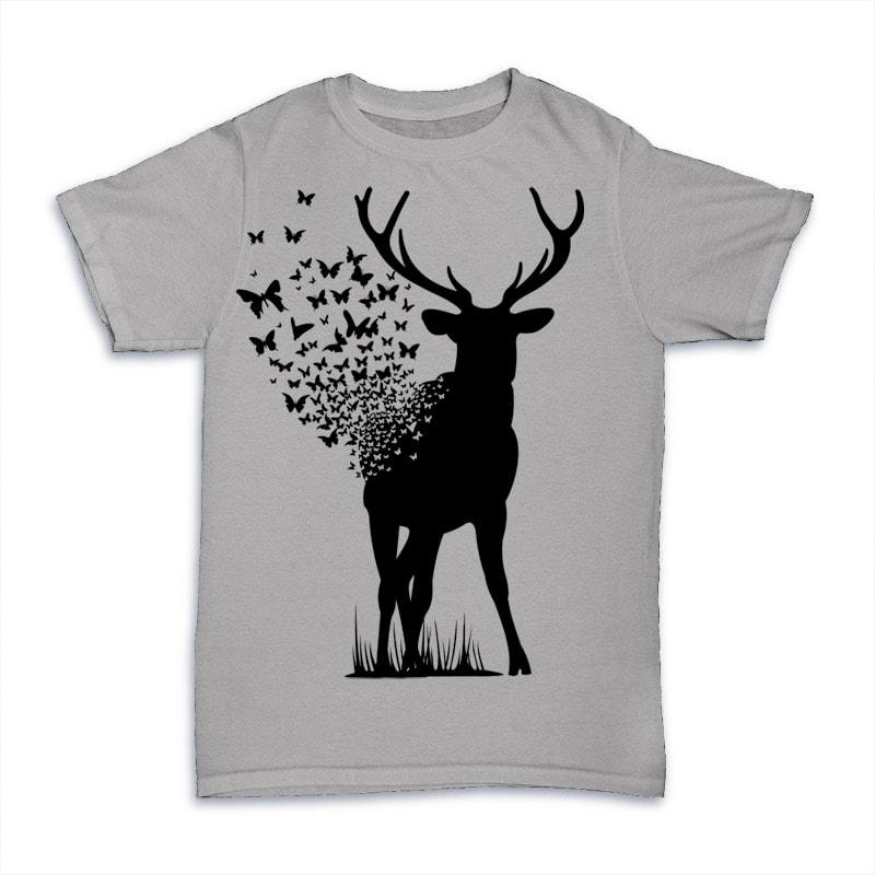 Deer Butterfly buy t shirt designs artwork