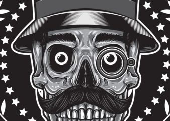Gentleman Club – Skull vector t-shirt design