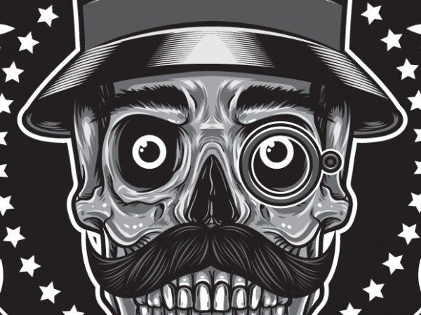 Gentleman Club – Skull t shirt design template